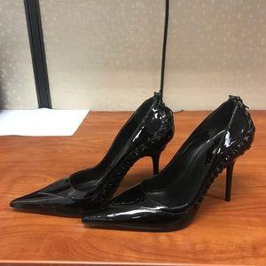 Black patent pumps